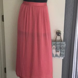 Coral color long skirt